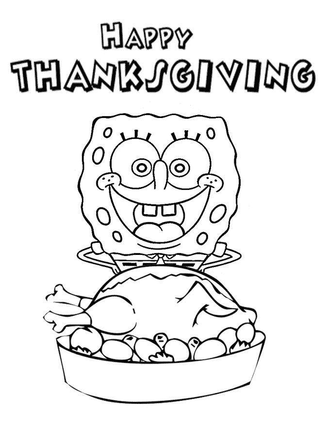 Spongebob Happy Thanksgiving Coloring Page