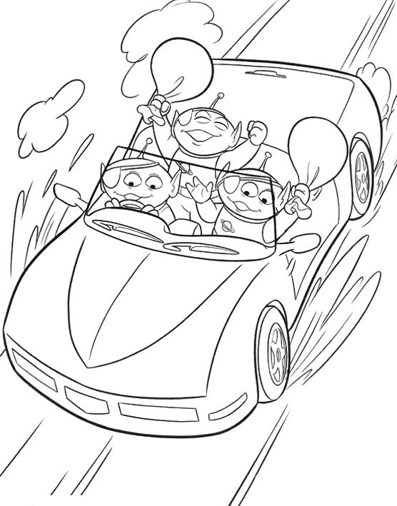 Toy Story Aliens Driving Coloring Page