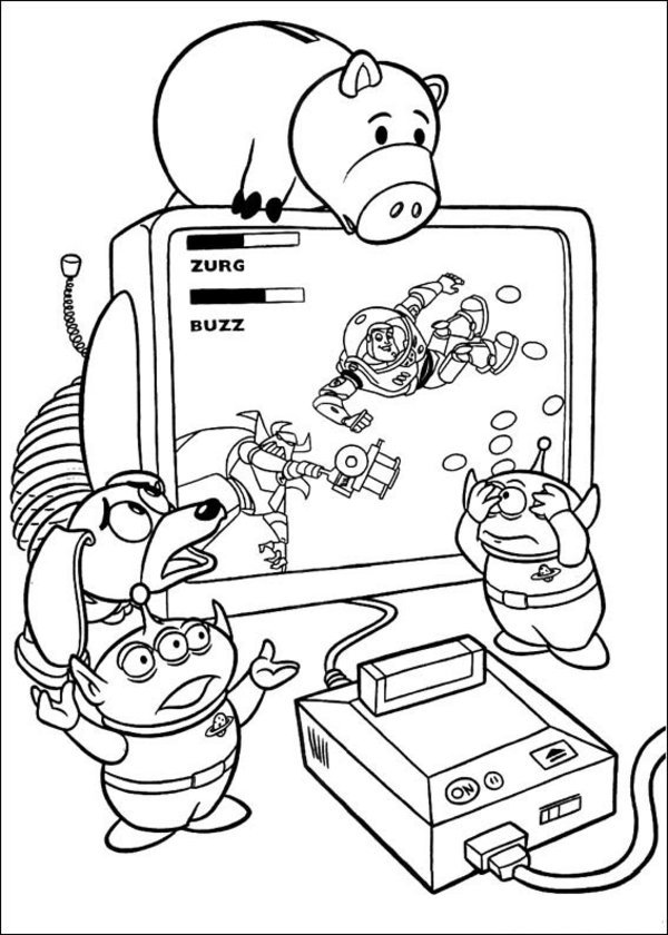Toy Story Aliens Playing Video Game Coloring Page