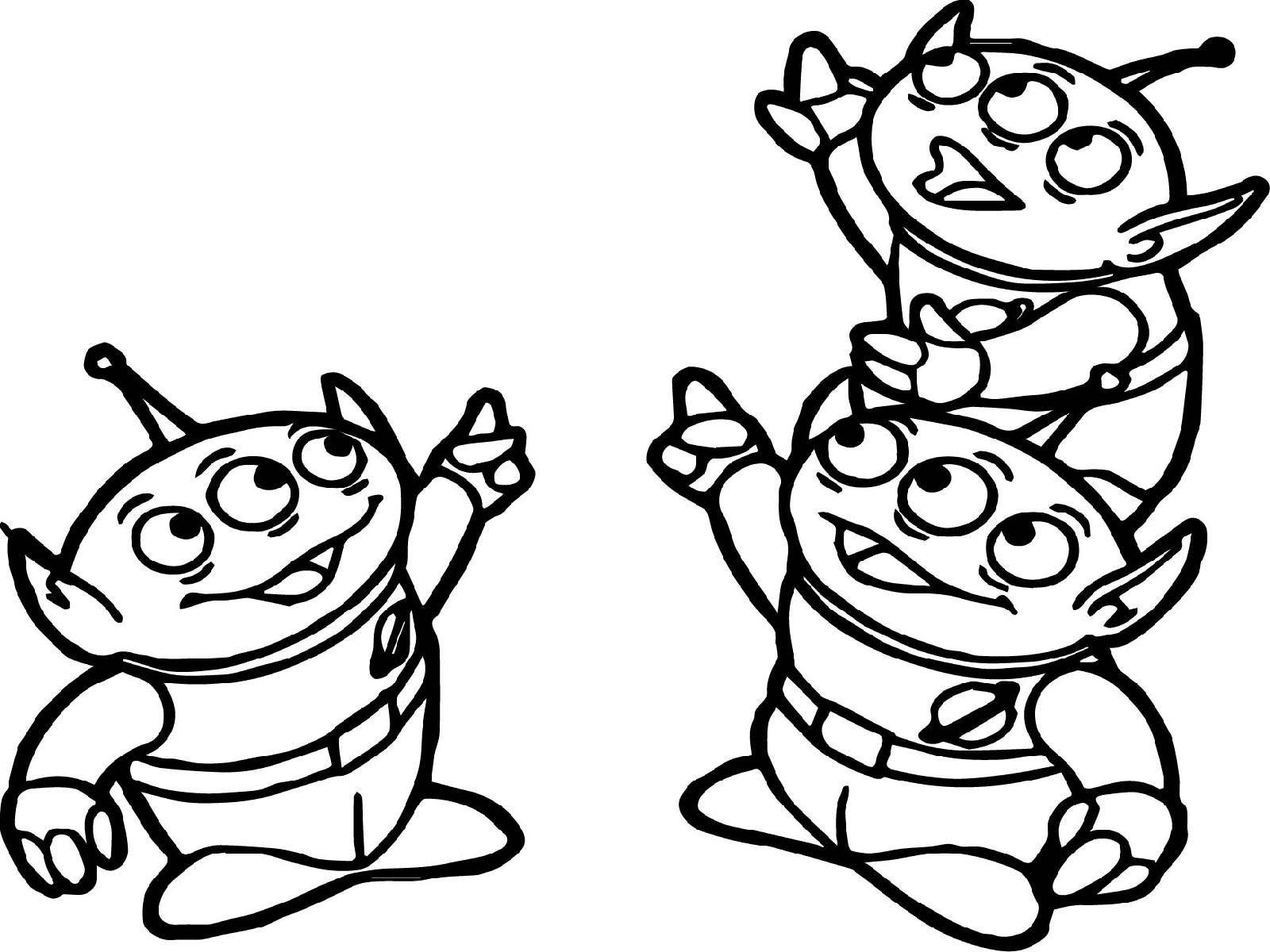 Toy Story Aliens Pointing Coloring Page