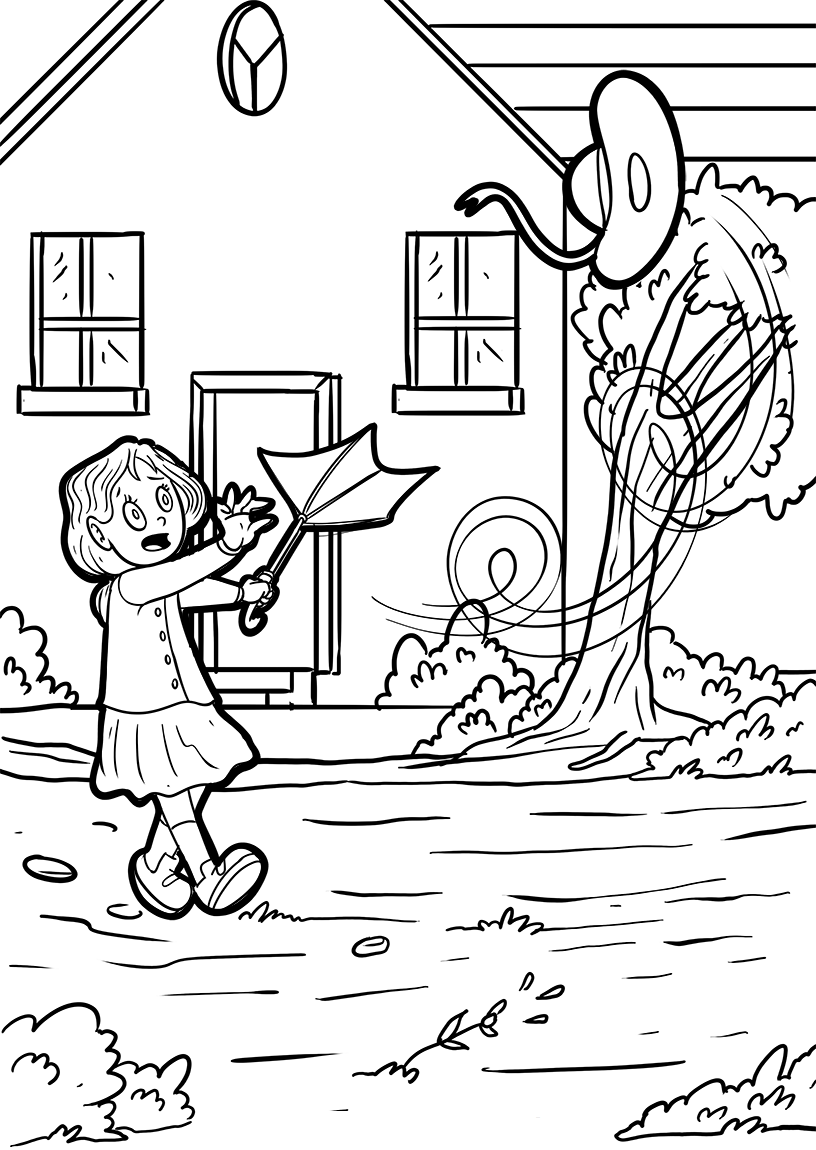 Wind Blowing Girls Hat Away Coloring Page
