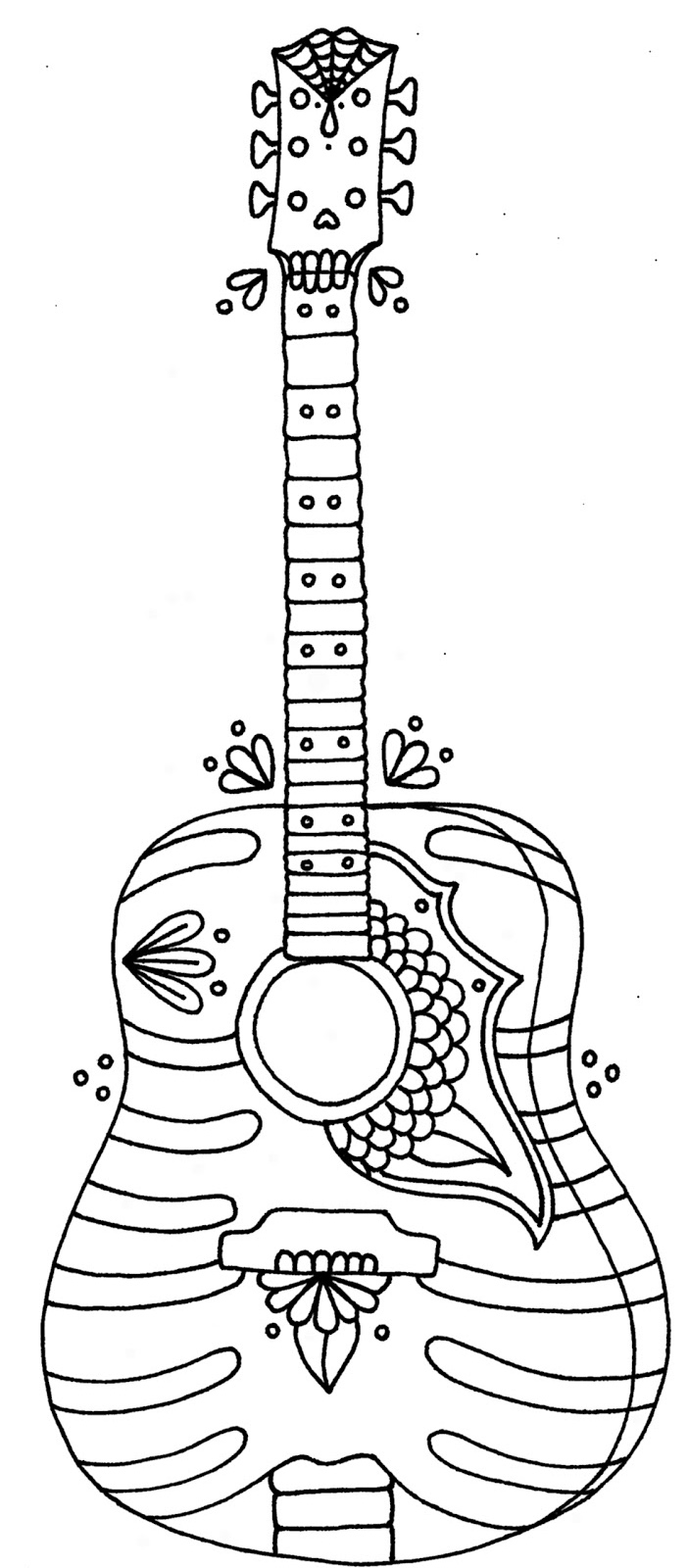 Zen Guitar Coloring Page