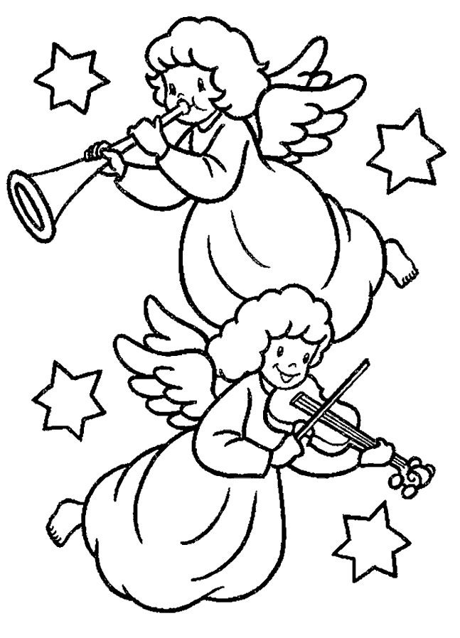 Angels With Musical Instruments Coloring Page