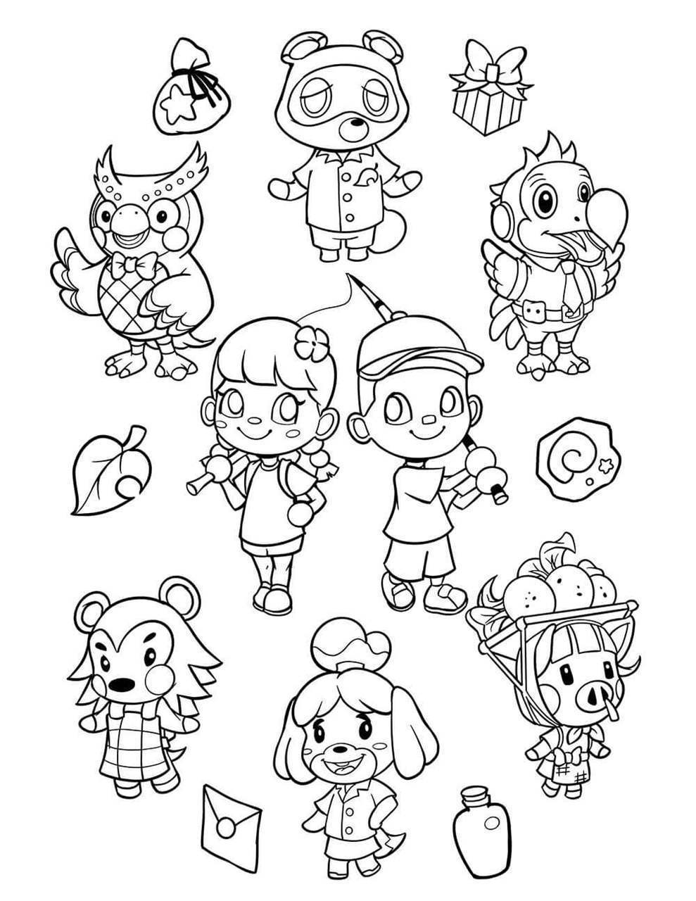Animal Crossing Characters Coloring Page