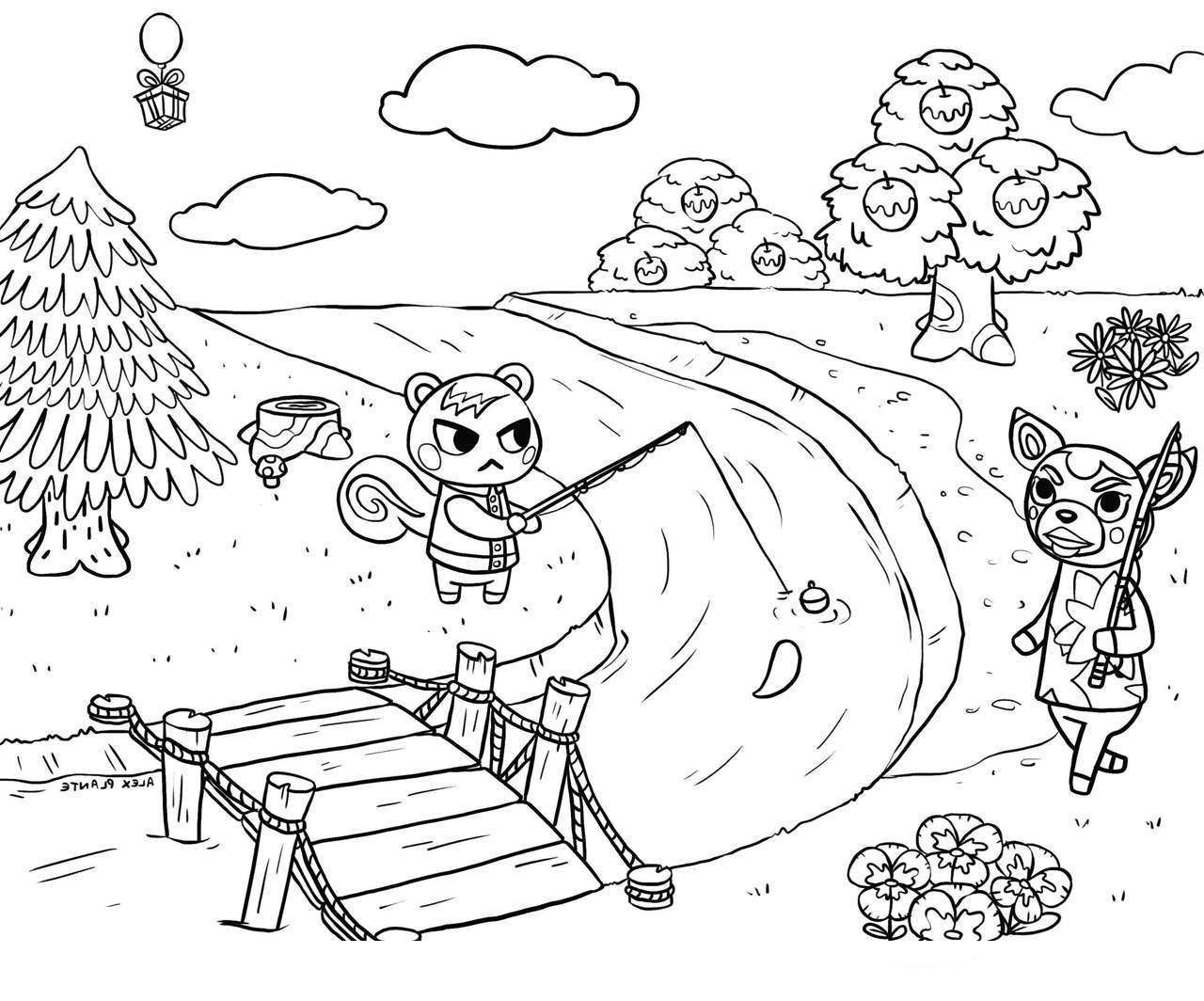Animal Crossing Scene Coloring Page