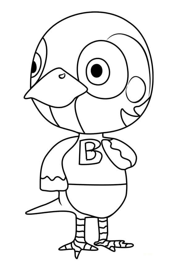 Animal Crossing Sparro Coloring Page