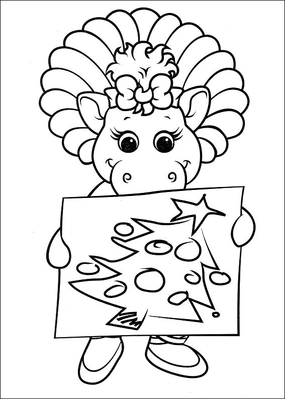 Baby Dinosaur Christmas Coloring Pages