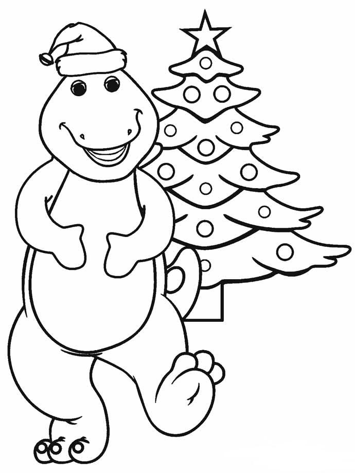 Barney Dinosaur Christmas Coloring Page