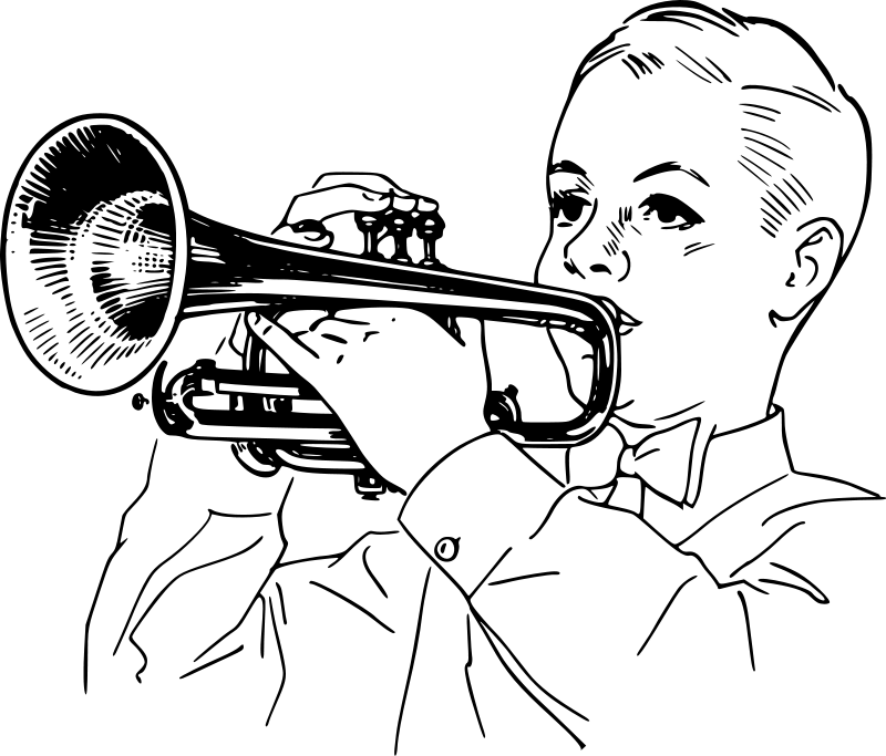 Boy Playing Trumpet Coloring Page