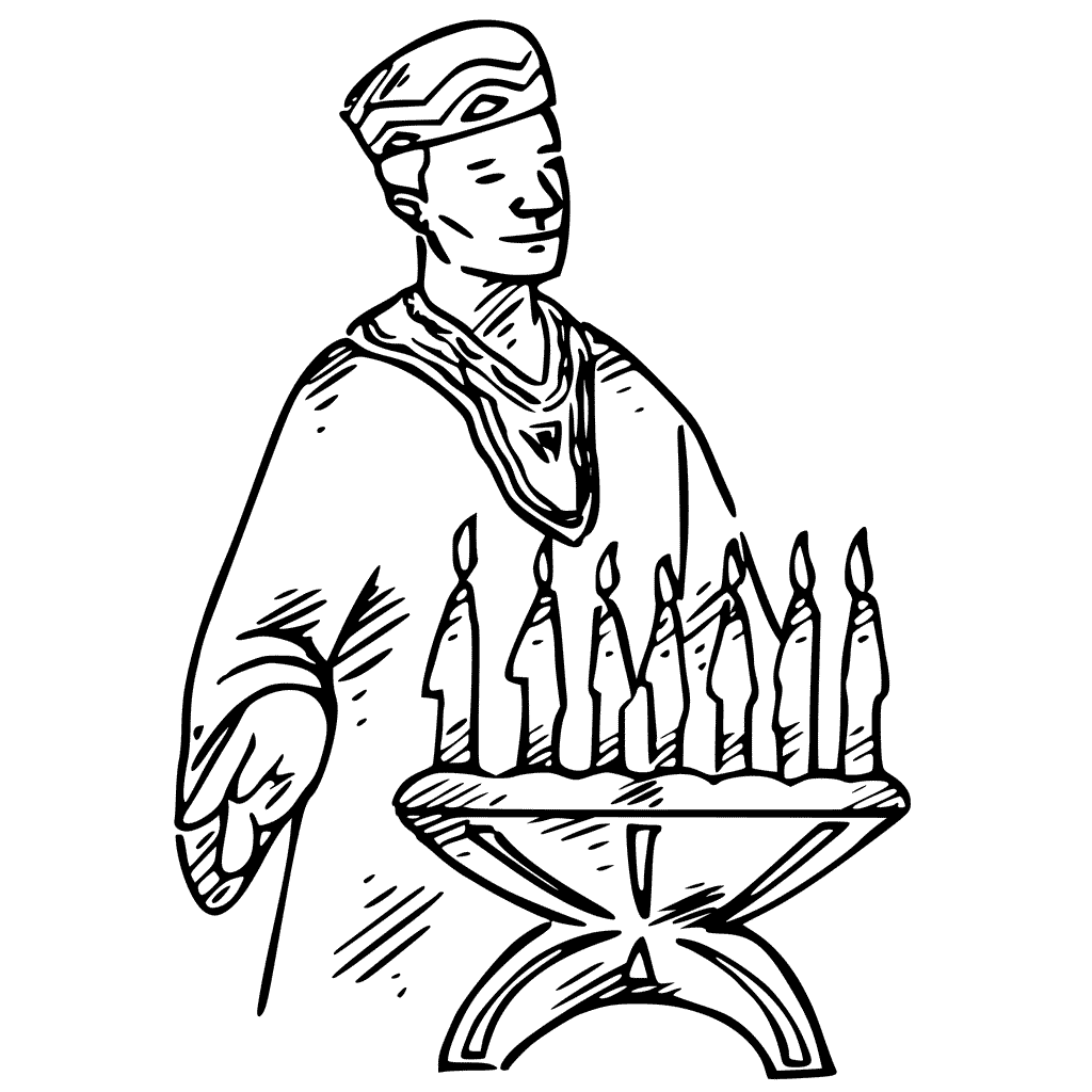Candles On Kwanzaa Coloring Page