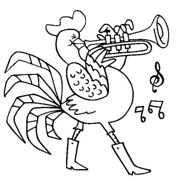 Chicken Playing Trumpet Coloring Page