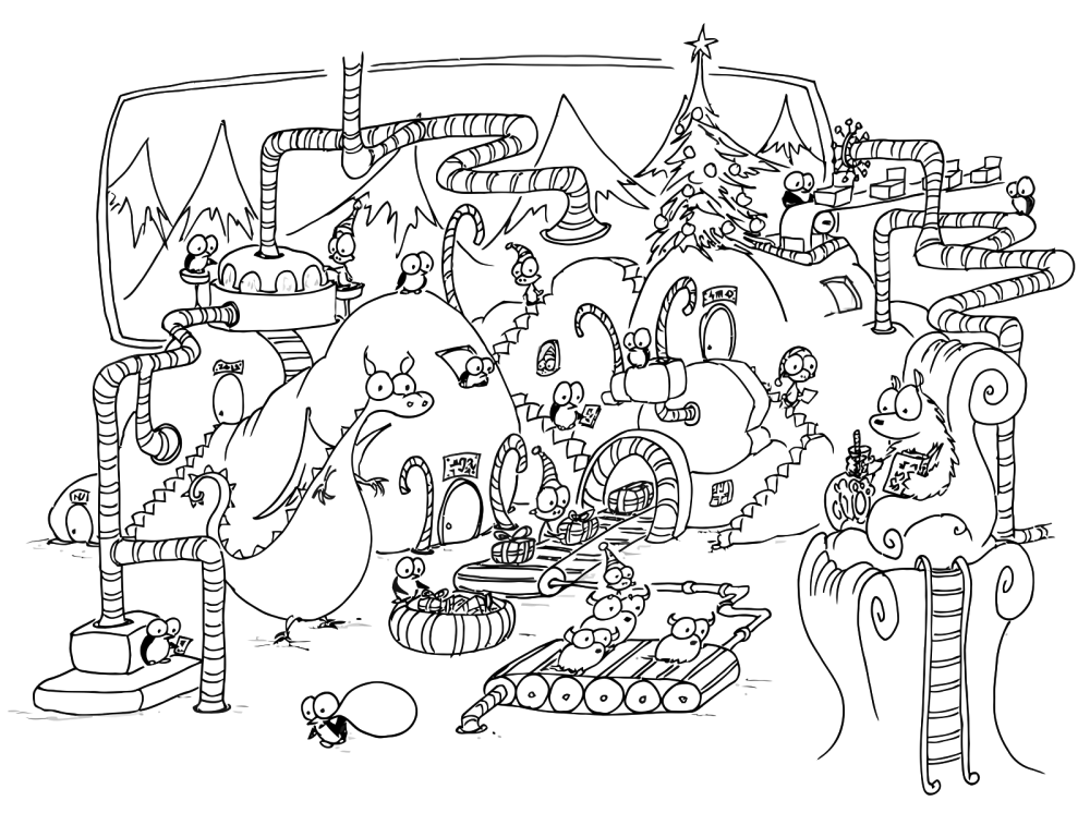 Cute Dinosaur Christmas Coloring Pages