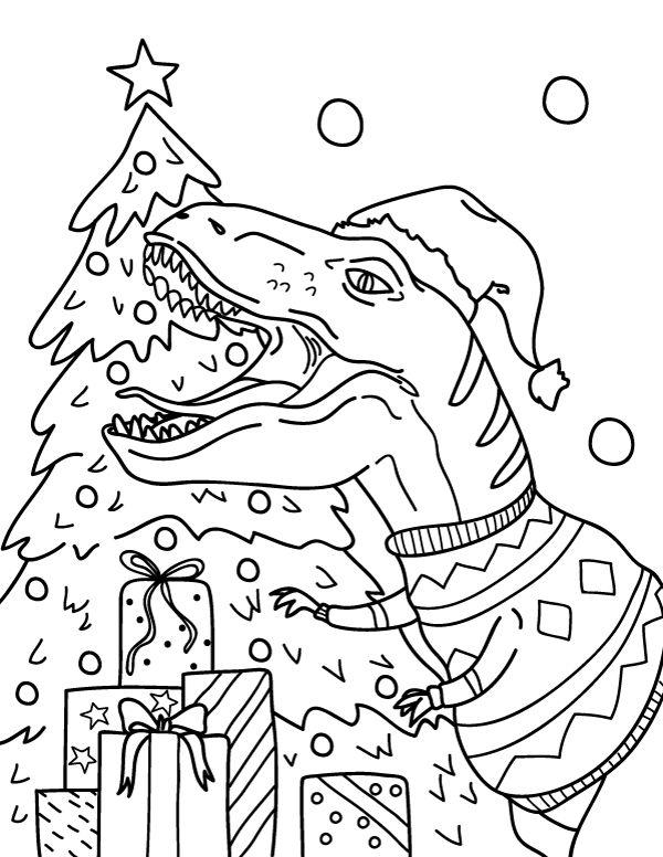Dinosaur Christmas Tree Coloring Page