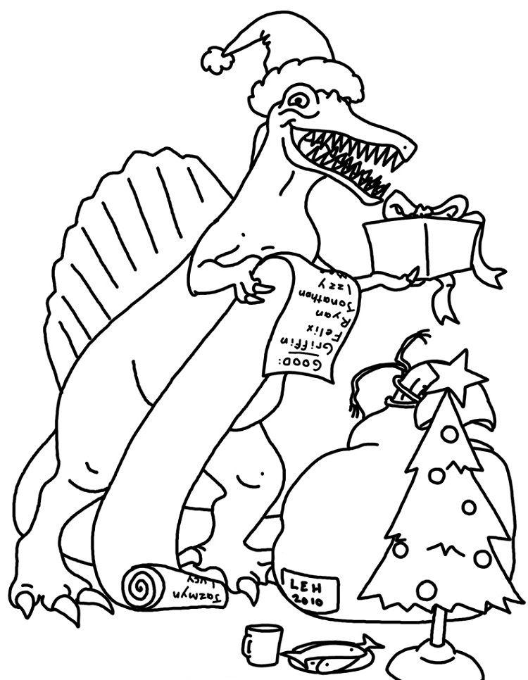 Dinosaur Santa Christmas Coloring Page
