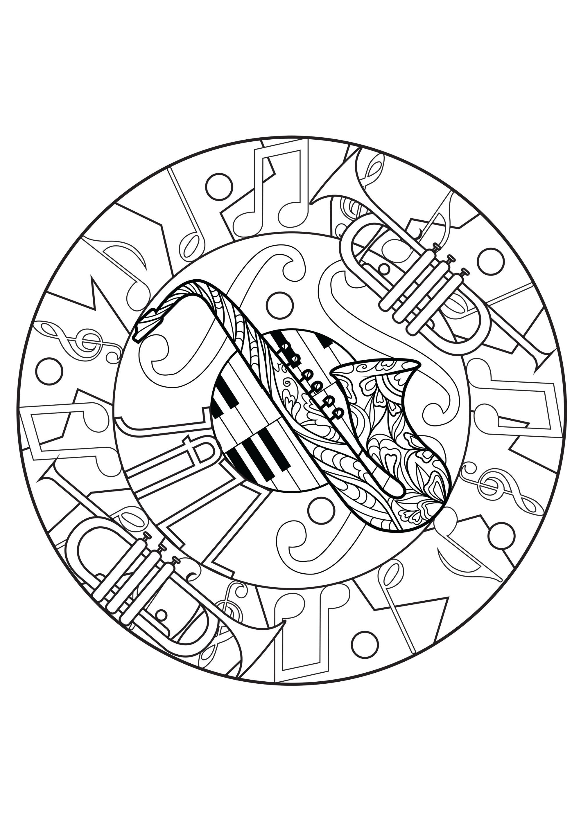 Fun Trumpet Mandala Coloring Page
