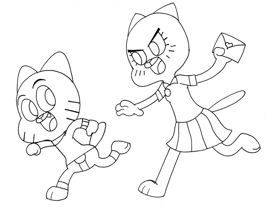 Gumball In Trouble Coloring Pages