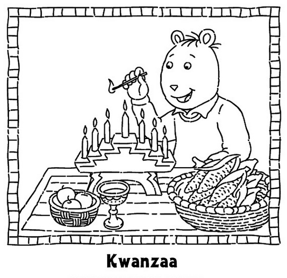 Lighting Candles Kwanzaa Coloring Pages