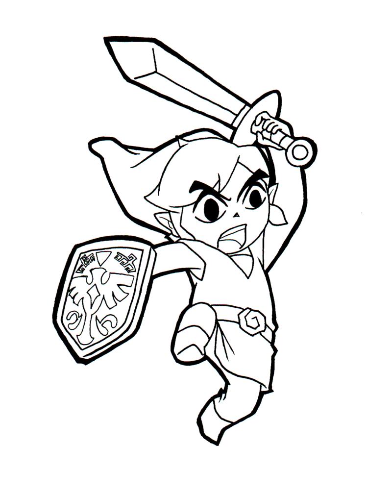 Link Zelda Video Game Coloring Page