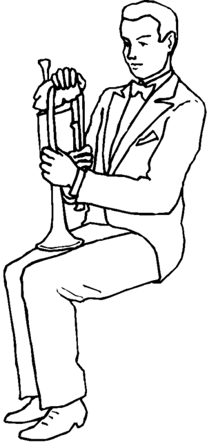 Man With Trumpet Coloring Page