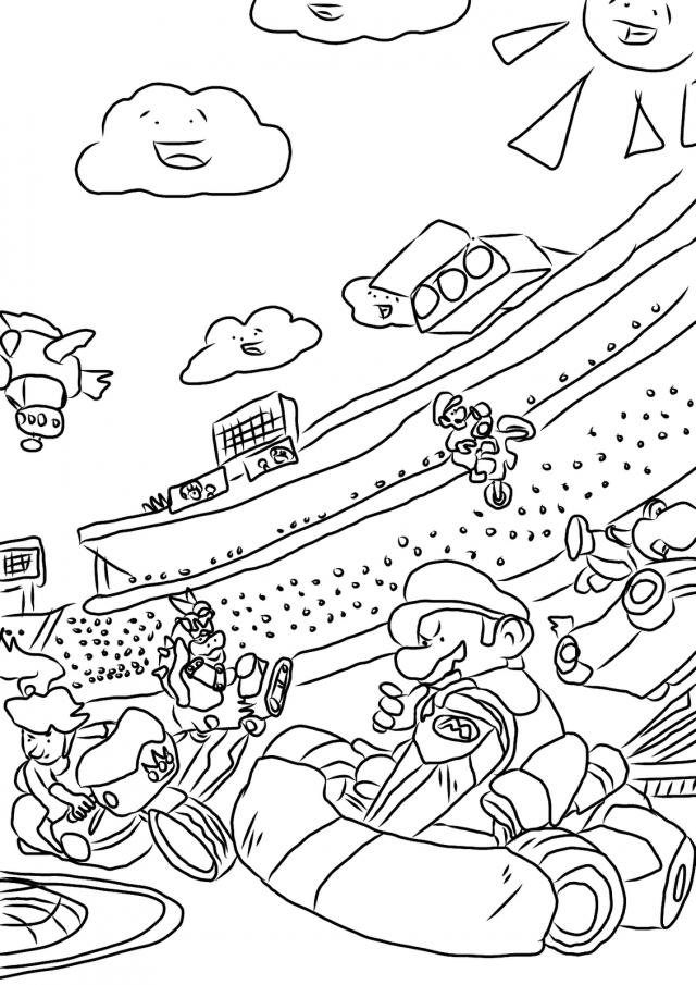 Mario Kart Video Game Coloring Page