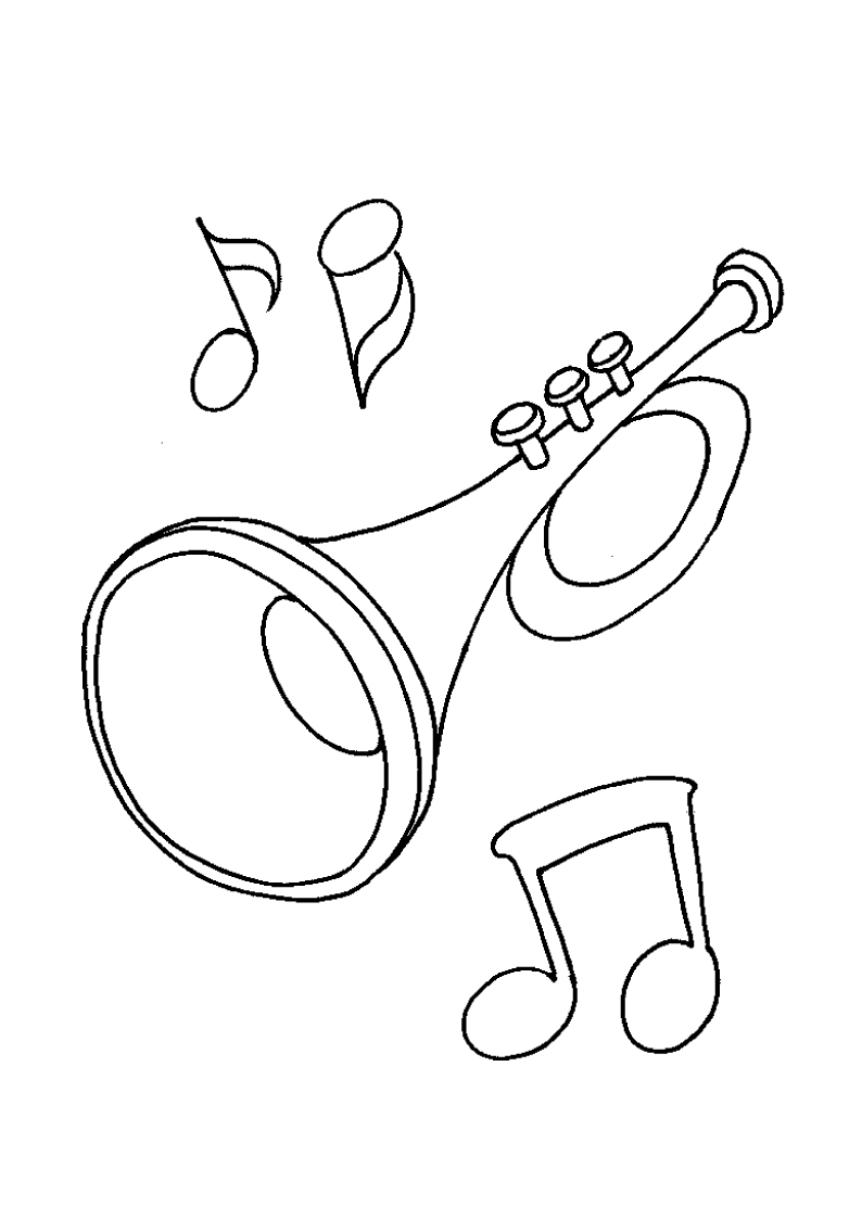 Music Notes And Trumpet Coloring Page
