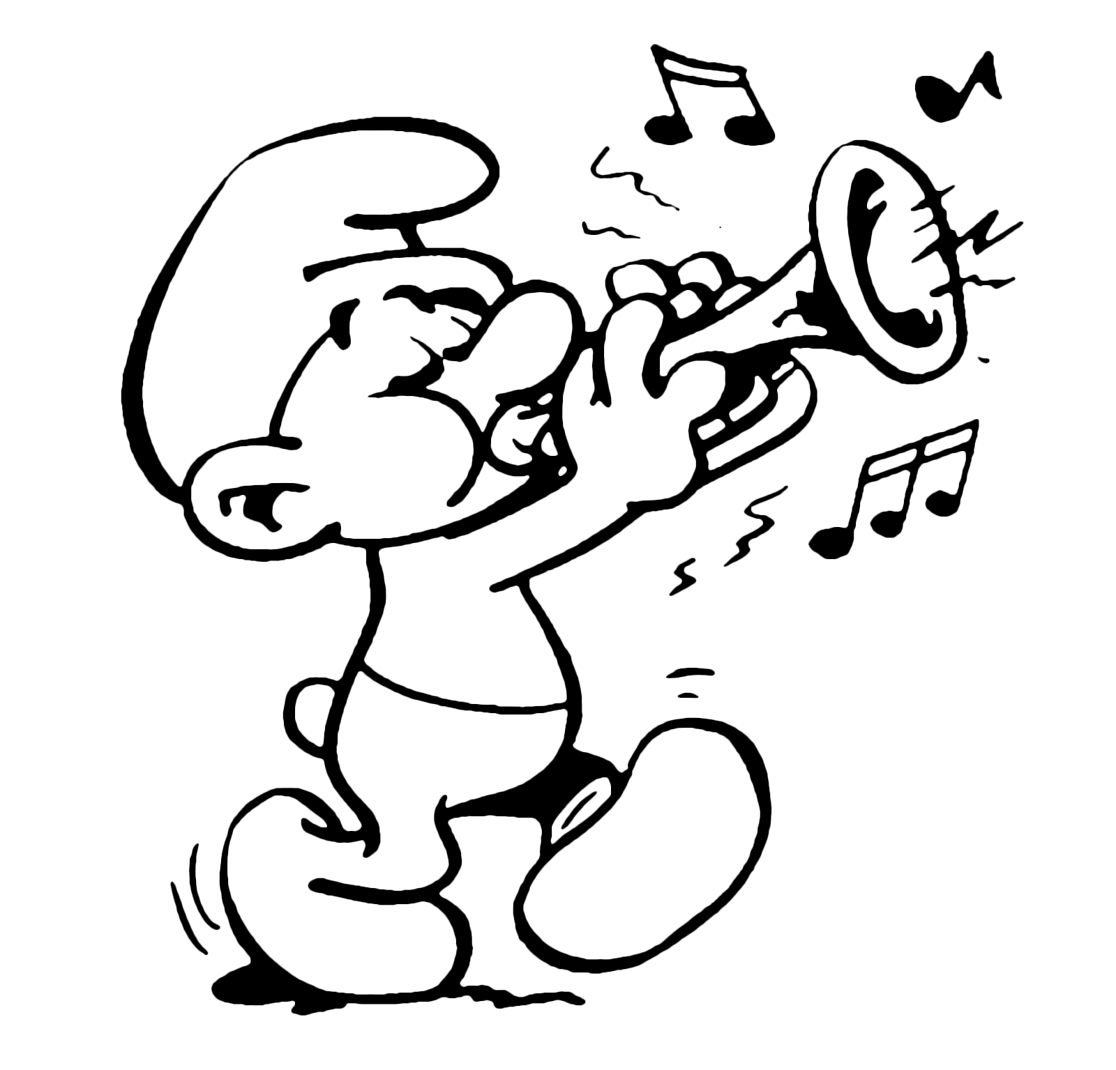 Smurf Playing Trumpet Coloring Page