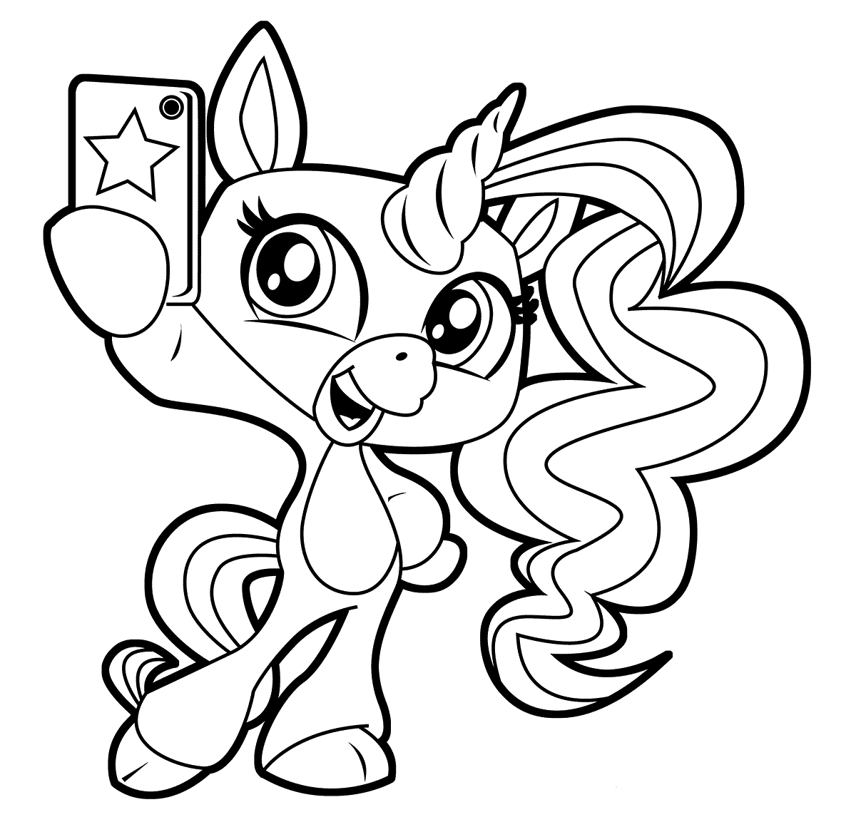 Unicorn Selfie Fingerlings Coloring Pages