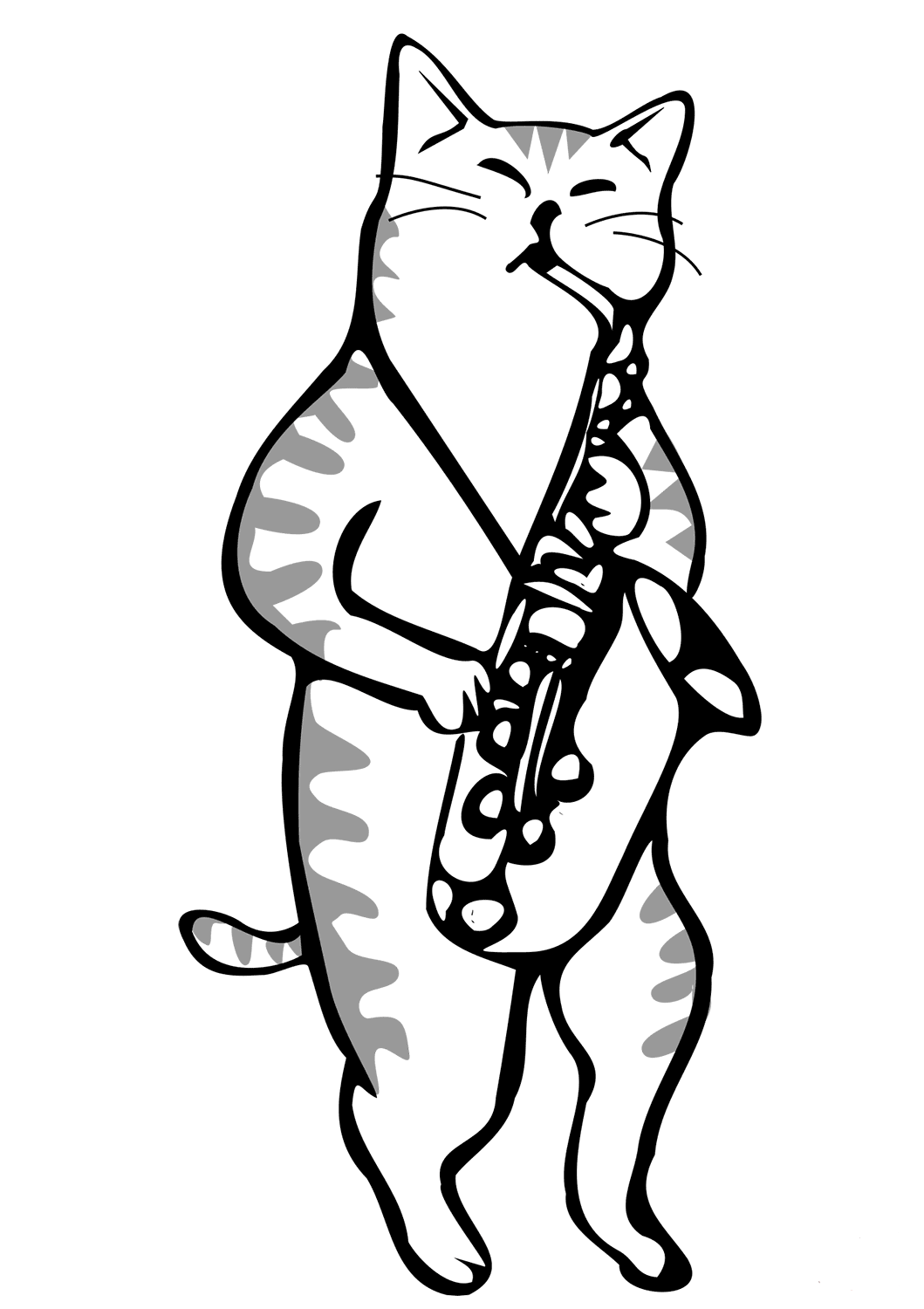 Cat Playing Saxophone Coloring Page