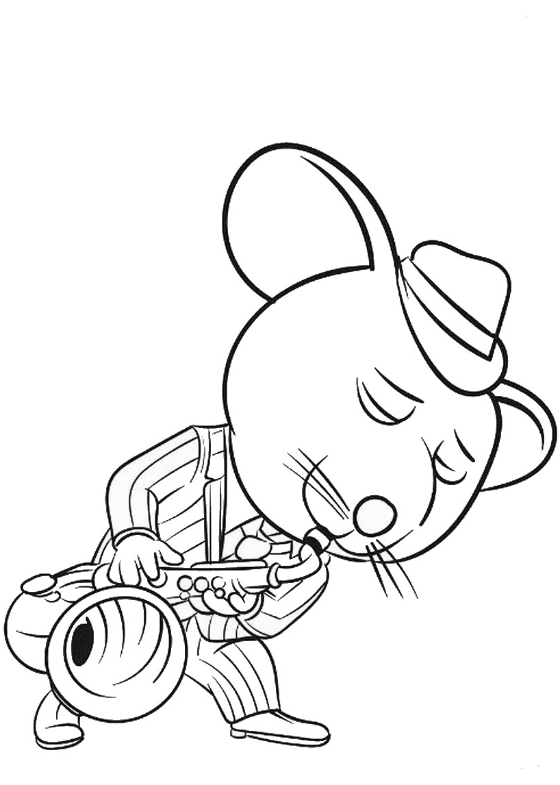 Cool Mouse Playing Saxophone Coloring Page