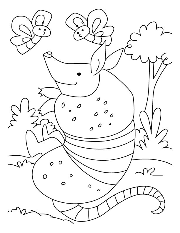 Cute Armadillo Coloring Pages