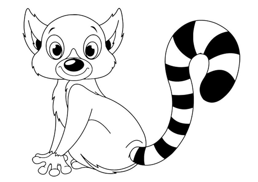 Cute Lemur Coloring Page