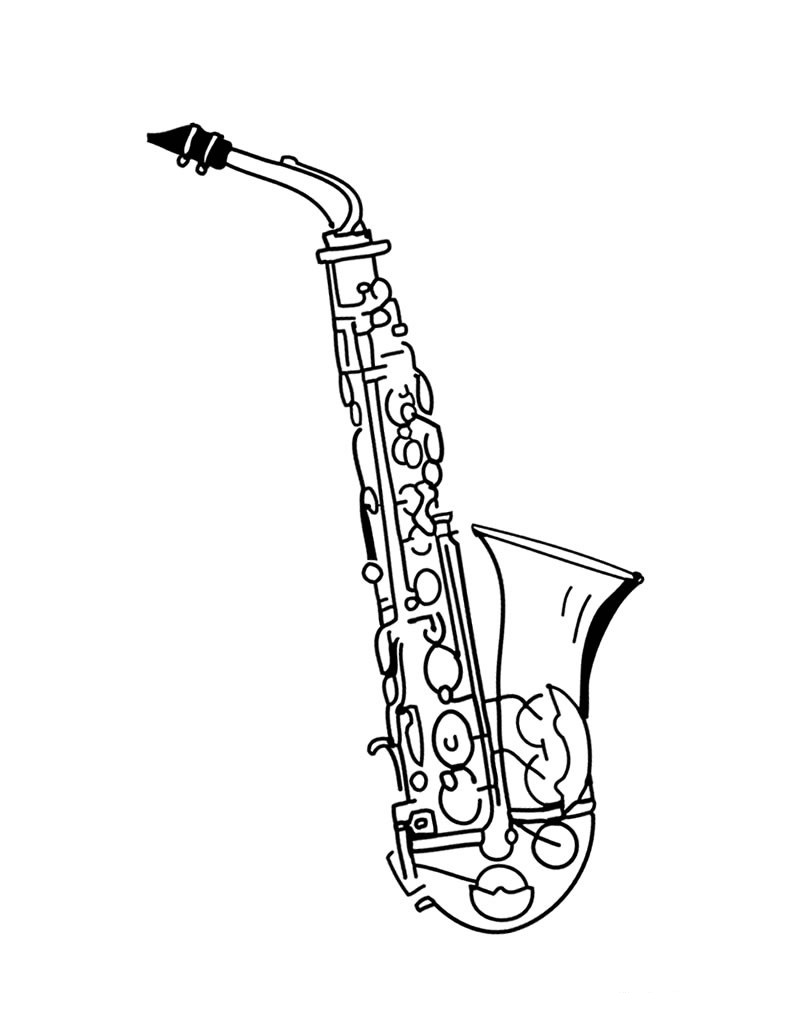 Pretty Saxophone Coloring Pages]