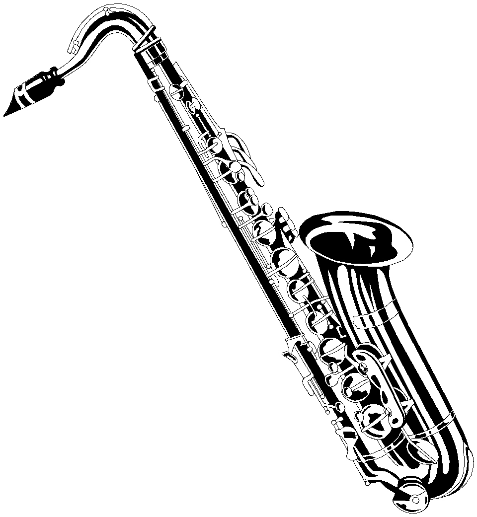 Realistic Saxophone Coloring Page