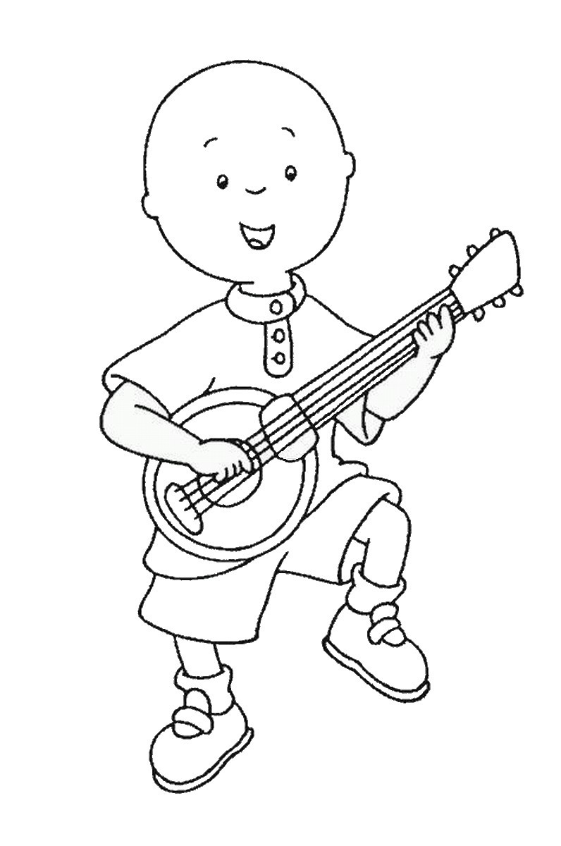 Caillou Playing Guitar Coloring