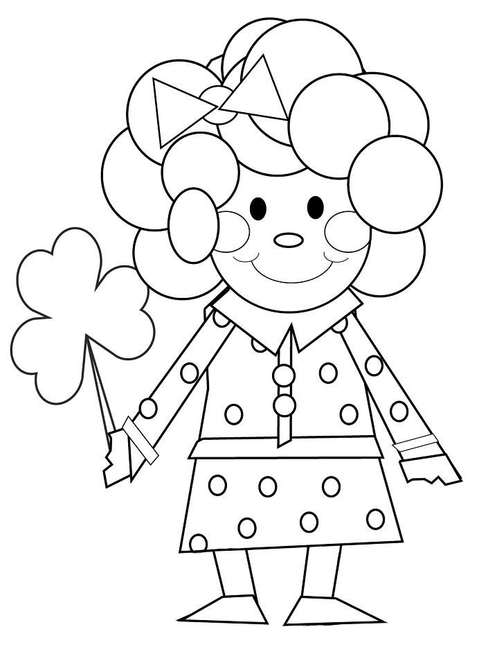 Cartoon Girl Leprechaun Coloring Page
