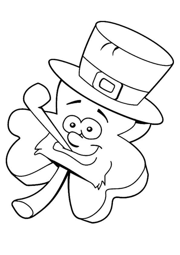 Cartoon Shamrock Coloring Page
