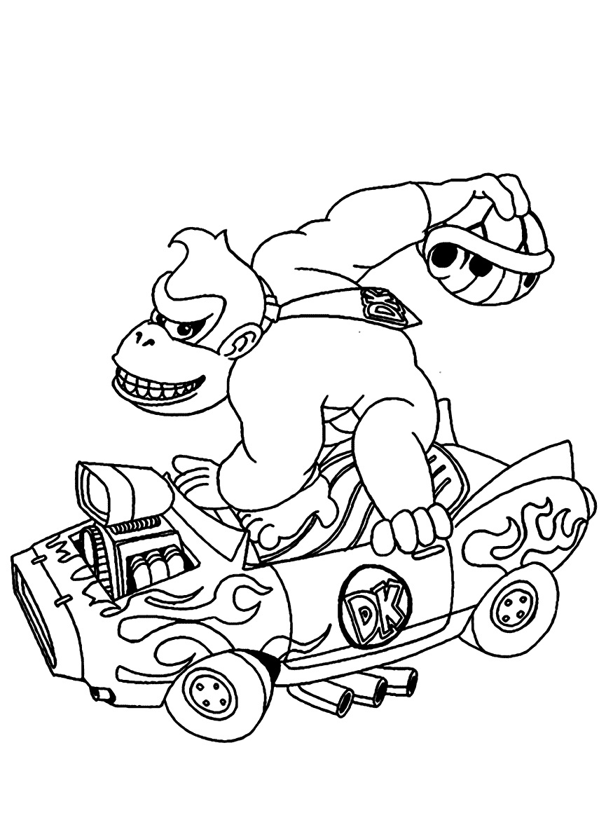 Donkey Kong Car Coloring Pages