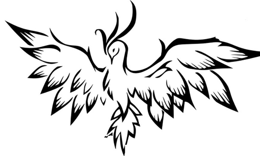 Easy Phoenix Coloring Page