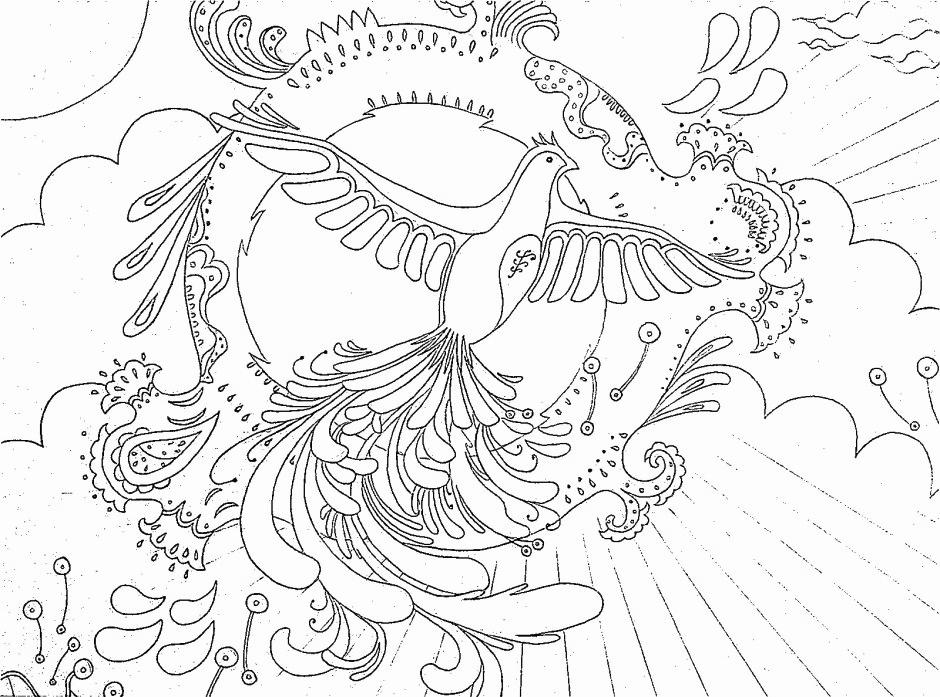 Fantasy Phoenix Coloring Page