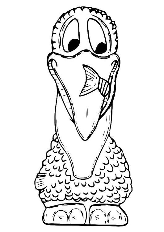 Funny Pelican Coloring Page