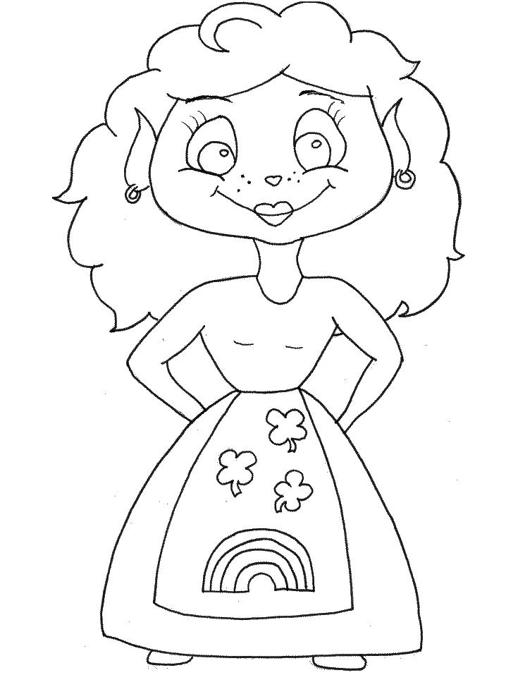 Girl Leprechaun Coloring Page