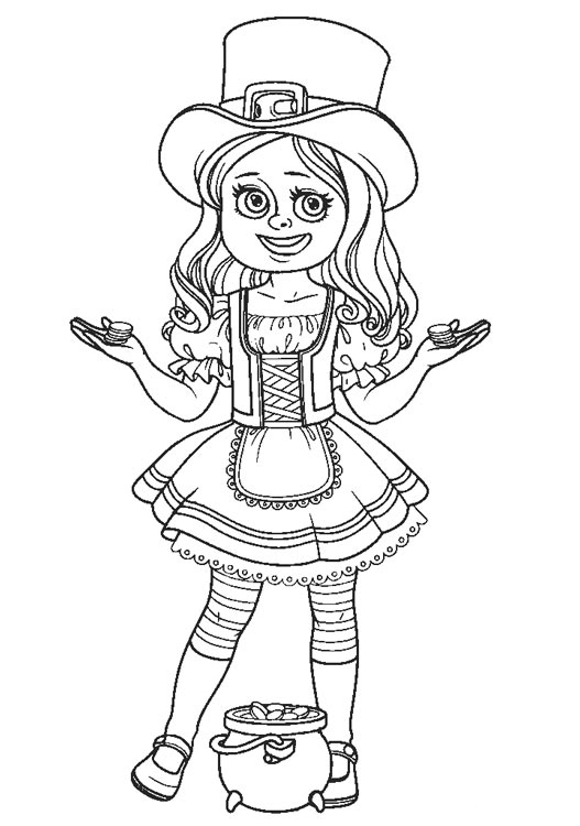 Girl Leprechaun With Pot Of Gold Coloring Page