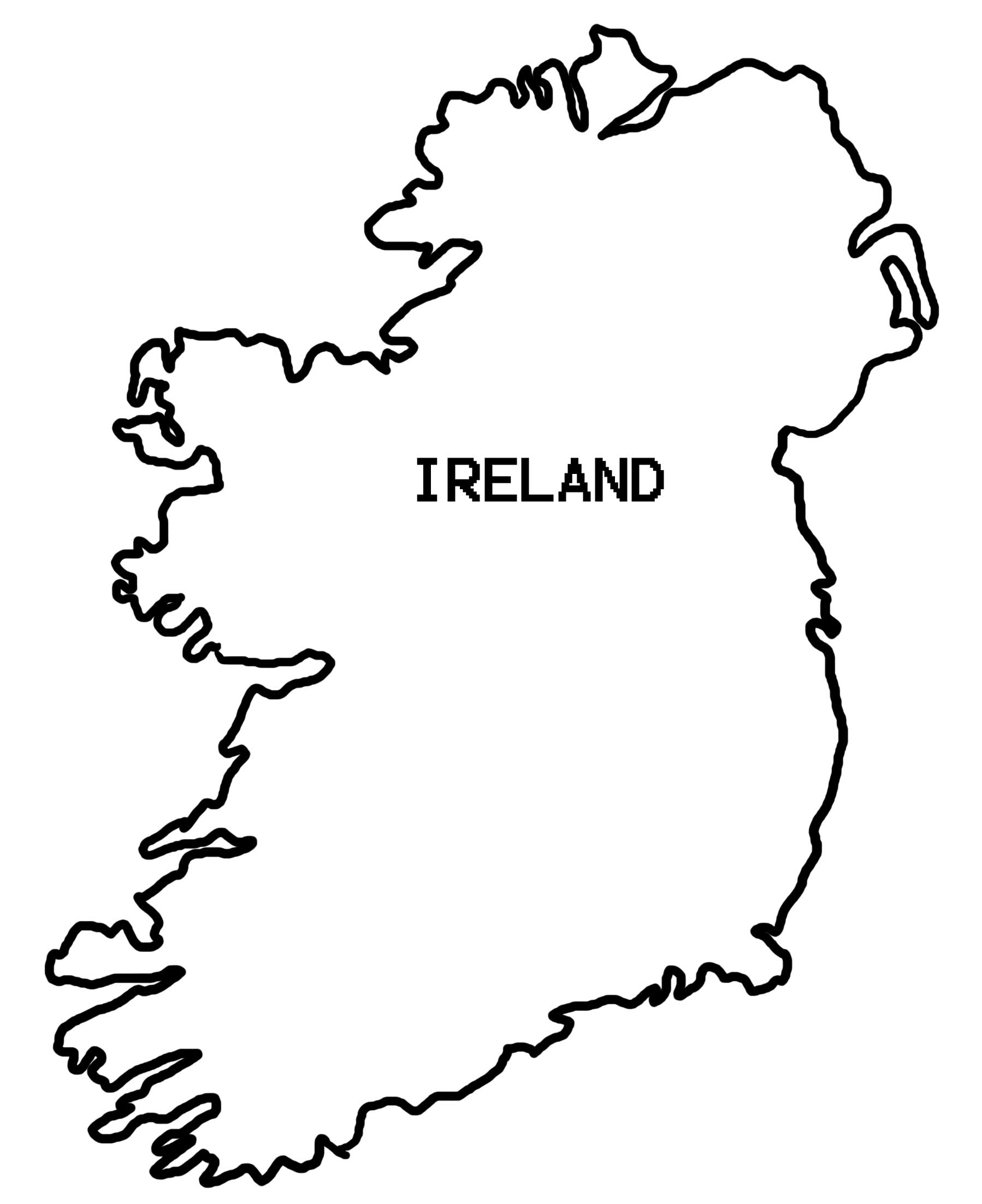 Ireland Map Coloring Page