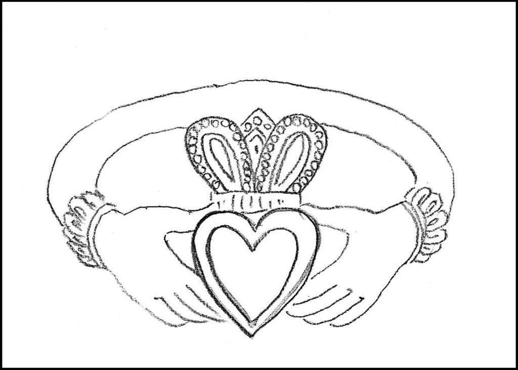 Irish Claddagh Ring Coloring Page