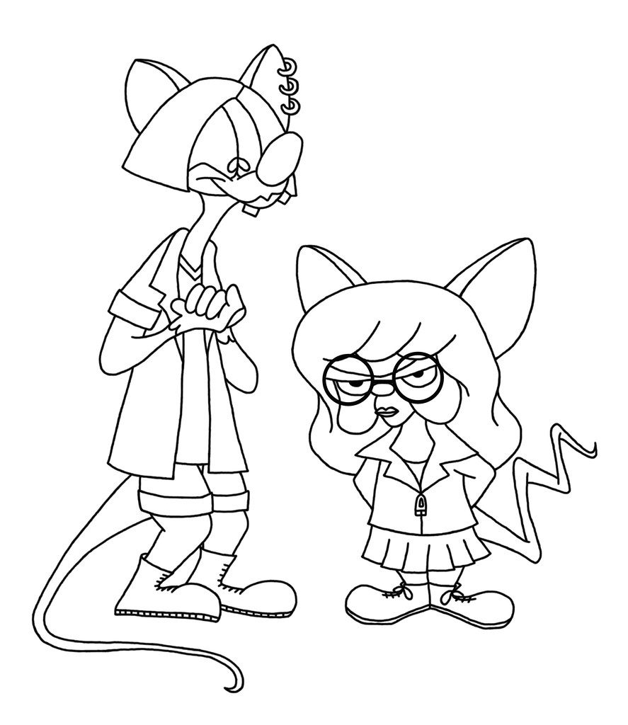 Pinky And The Brain Dressed As Girls Coloring Page