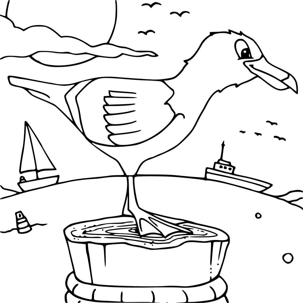 Seagull On Post Coloring Page