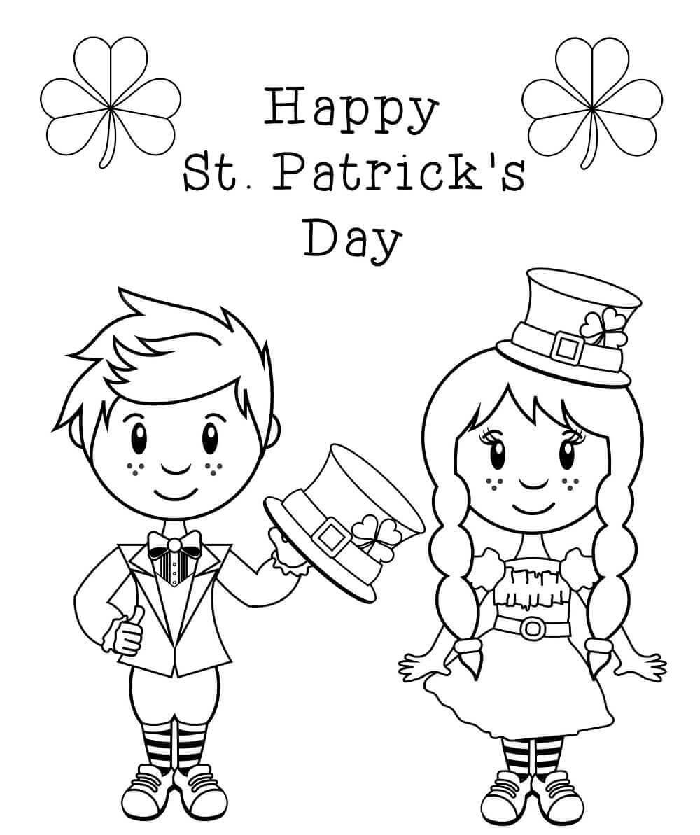 St Patricks Boy And Girl Leprechaun Coloring Page