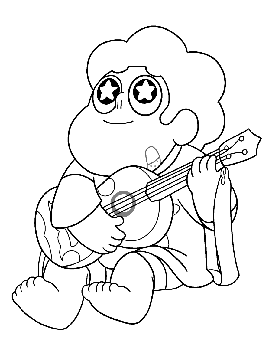 Steven Universe Playing Ukelele Coloring Page