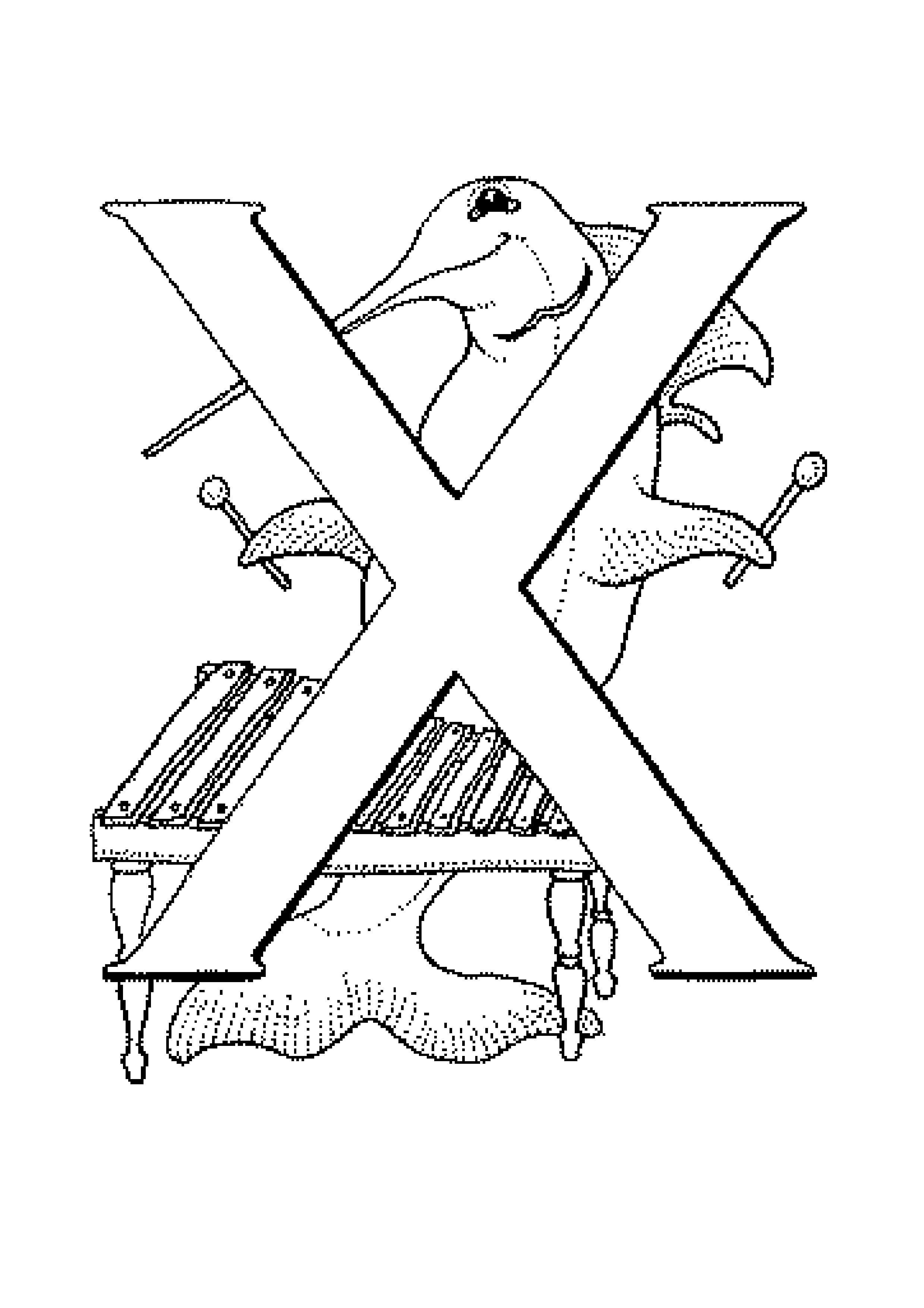 X Xylophone Coloring Page