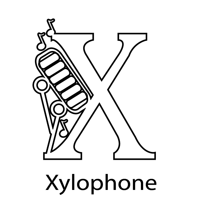 X For Xylophone Coloring Page
